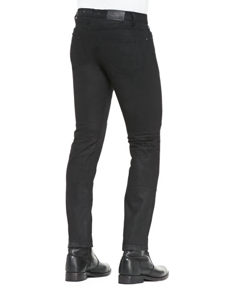Blackrod Slim Stretch Jeans with Knee Panels, Black