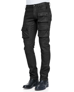 Belstaff Devonport Resin Coated Denim Jeans, Black