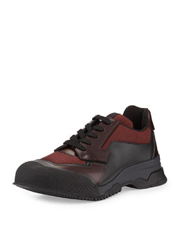 Nylon Runway Trainer Sneaker, Burgundy