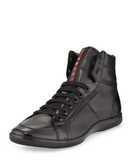 Napa Leather High-Top Sneaker, Black