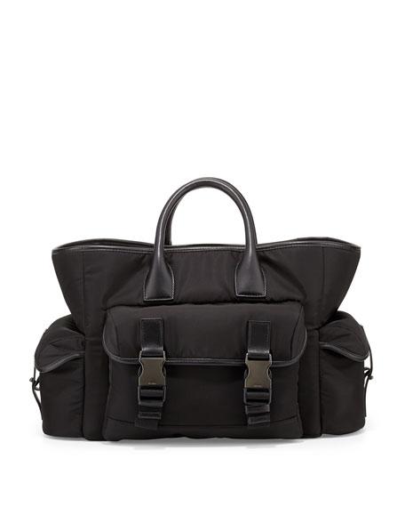 694d884d7 Prada Men's Nylon Shopper Tote Bag with Buckles, Black (Nero)