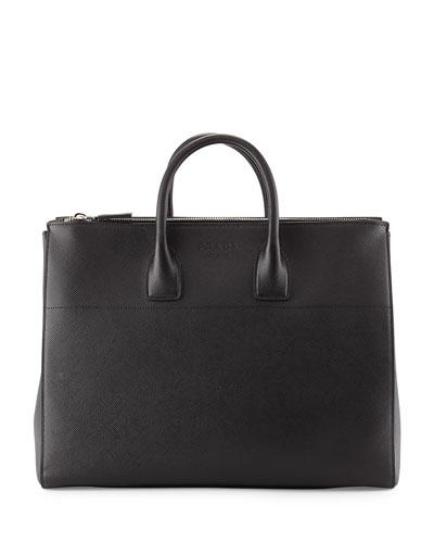 Men's Saffiano Zip-Top Shopper Bag, Black (Nero)