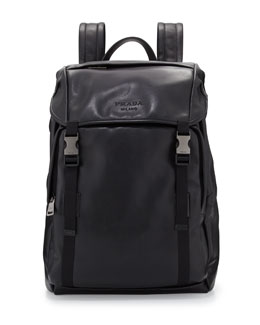 Men's Leather Double-Buckle Backpack, Black