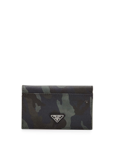 Camo-Print Saffiano Card Case w/Flap, Blue
