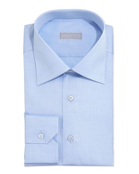 Basic Solid Barrel-Cuff Dress Shirt, Blue