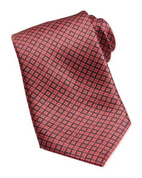Floral Medallion Pattern Silk Tie, Red