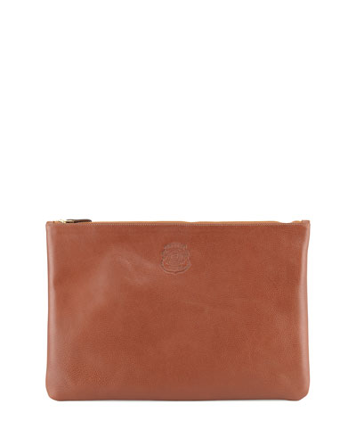 Large Leather Document Pouch, Brown