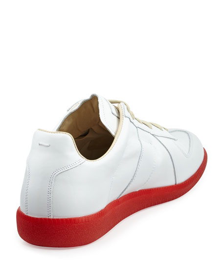 Replica Leather Low-Top Sneaker with Red Sole, White