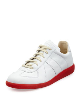 Maison Martin Margiela Replica Leather Low-Top Sneaker with Red Sole, White