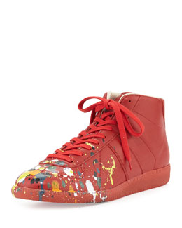 Maison Martin Margiela Splatter-Detail Mid-Top Replica Sneaker, Red