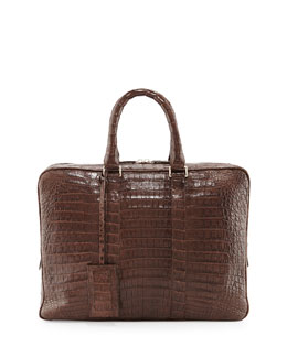 Crocodile Compartment Skinny Briefcase, Chocolate
