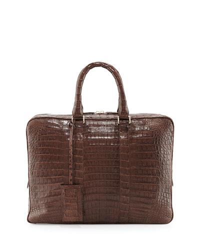 Crocodile Compartment Skinny Briefcase, Chocolate