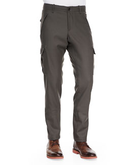 Moncler Wool Cargo Dress Pants, Olive