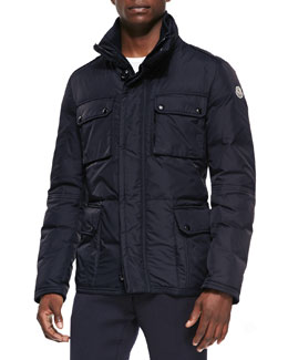 Moncler Amazonne Quilted Field Jacket, Navy