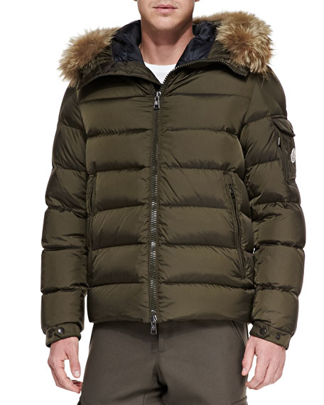 Byron Fur-Trim Hood Puffer Jacket, Brown