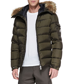Moncler Byron Fur-Trim Hood Puffer Jacket, Brown