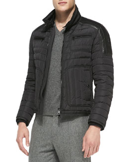 Moncler Bahar Quilted Nylon Moto Jacket