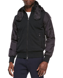 Moncler Nylon and Jersey Zip Hoodie, Black