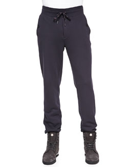 Moncler Jersey Drawstring Sweatpants, Navy