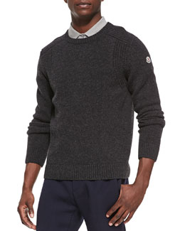 Moncler Wool-Knit Crewneck Sweater, Dark Gray