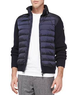 Moncler Quilted-Front Zip Sweater, Navy