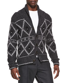 Moncler Nordic Heavy-Knit Cardigan, Gray