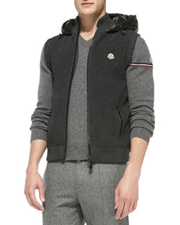 Moncler Knit Vest with Nylon Hood, Gray