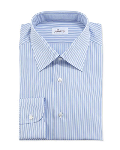 Track-Stripe Dress Shirt, Blue/White