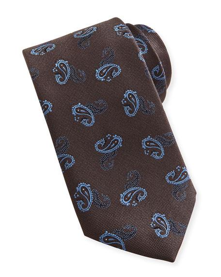 Paisley Textured Silk Tie, Brown/Blue