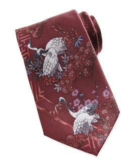Crane Printed Silk Tie, Burgundy