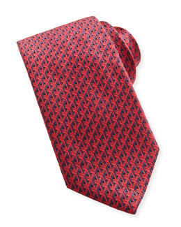 Y-Pattern Woven Tie, Navy/Red