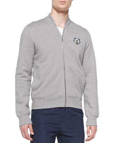 Tiger-Patch Baseball Jacket, Gray