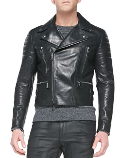 Belstaff Leather Biker Jacket, Black
