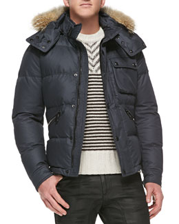 Belstaff Atkinson Coated-Cotton Quilted Jacket with Fur Trim, Dark Navy