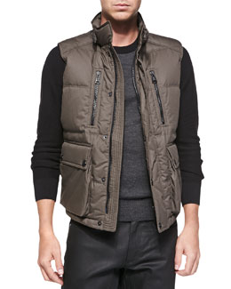 Belstaff Armstrong Down Vest with Fur Trim, Olive Green