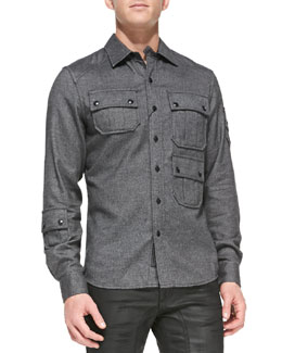 Belstaff Malvern 3-Pocket Flannel Shirt, Gray Melange