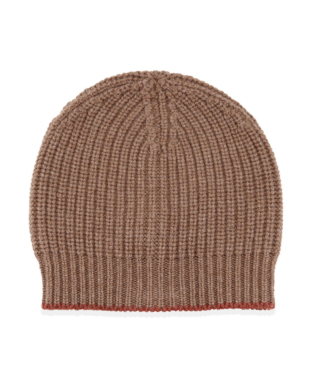 Brunello Cucinelli Cashmere Ribbed Hat, Brown/Orange