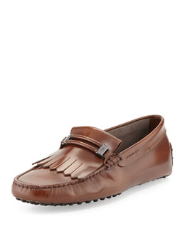 Tod's Fringe Leather Driver, Brown