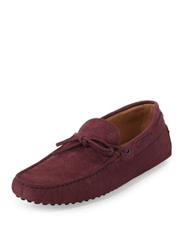Tod's Stamped Nubuck Tie Driver, Wine