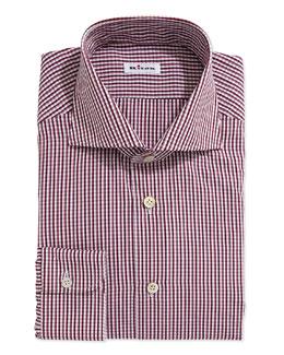 Kiton Two-Tone Plaid Dress Shirt, Red/Purple