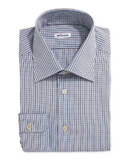 Two-Tone Plaid Dress Shirt, Brown/Blue