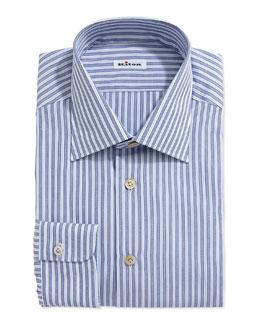 Kiton Mixed Stripe Dress Shirt, Blue/Light Blue