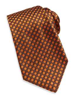 Woven Dot Silk Tie, Orange