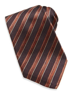 Rope-Stripe Woven Tie, Brown