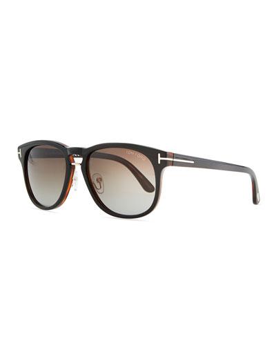 Franklin Vintage Acetate Sunglasses, Black/Gray