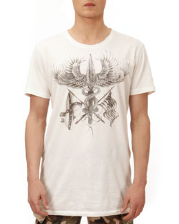 Balmain Eagle-Graphic-Print Tee, White