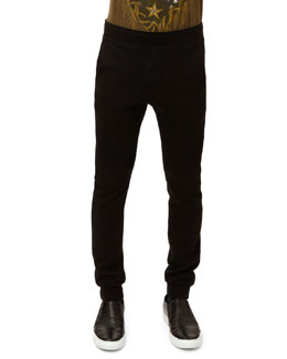 Balmain French Terry Ribbed Sweatpants, Black