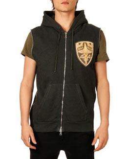 Balmain Logo-Patch Sleeveless Zip Hoodie, Khaki