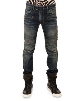Balmain Washed Biker Jeans, Blue