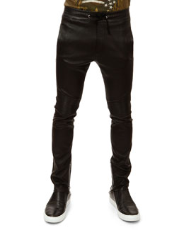 Balmain Leather Biker Pants, Black